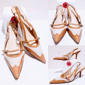 Bellofatto Shoes - Bellofatto Leather sling back heels size 8.5B 🐝💋